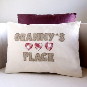 Personalised Embroidered Hearts Cushion - gifts for grandparents