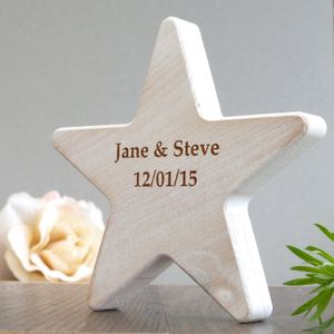 Personalised Wooden Star Wedding Keepsake