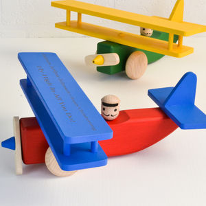 Personalised Wooden Plane / Push Along Toy - traditional toys & games