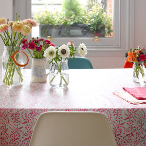 Pink Floral Oilcloth - table linen