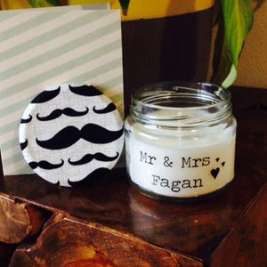 Personalised 'Mr And Mrs' Wedding Gift Candle