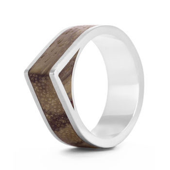 'Native Edge' Silver And Wood Ring