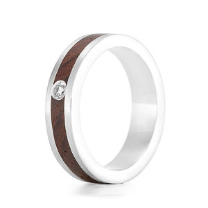 'Native Diamond' Silver And Wood Ring
