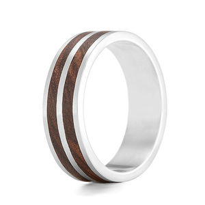 'Dual' Wood And Silver Ring