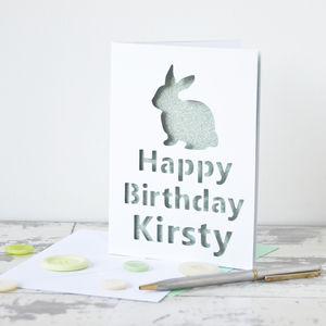 Personalised Rabbit Glitter Cut Out Card - seasonal cards