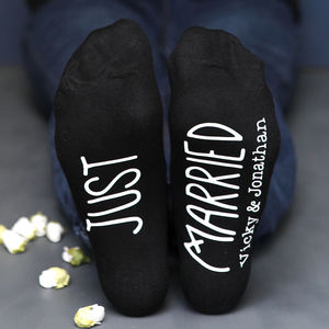 Just Married Wedding Socks