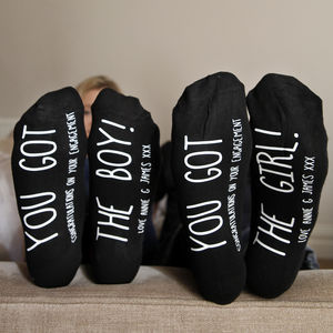 Personalised His And Hers Engagement Socks