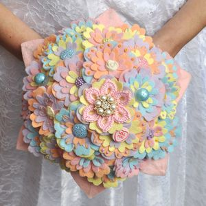 Pastel Felt Bridal Bouquet - statement wedding decor