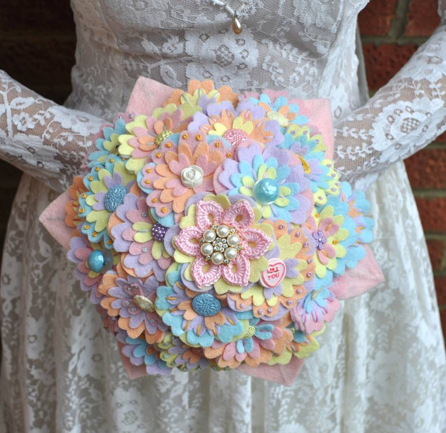 Pastel Wedding Flowers: Pastel Felt Bridal Bouquet By Beaubuttons
