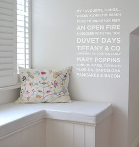 Personalised 'My Favourite Things' Wall Sticker - decorative accessories