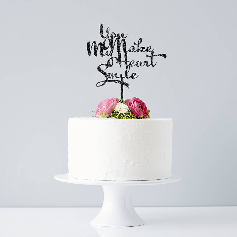 Calligraphy Song Lyrics Wedding Cake Topper By Sophia