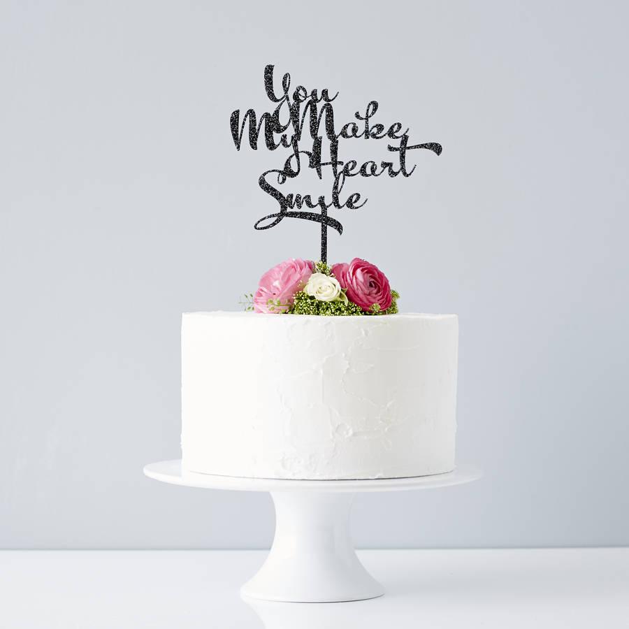 Calligraphy Song Lyrics Wedding Cake Topper By Sophia