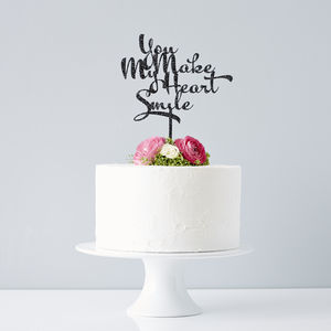 Calligraphy Song Lyrics Wedding Cake Topper - cake toppers & decorations