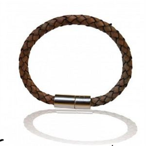 Mens Leather Natural Leather And Solid Silver Wristband