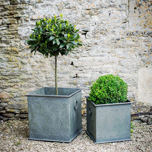 Set Of Two Square Rivited Planters