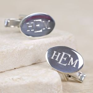 Engraved Sterling Silver Monogram Oval Cufflinks
