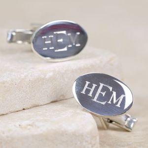 Engraved Monogram Oval Cufflinks