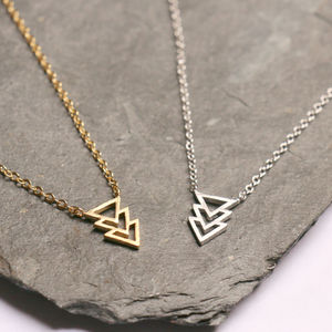 Geometric Triple Triangle Necklace - geometric shapes