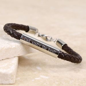 Personalised Men's Brown Leather Tube Bracelet - bracelets