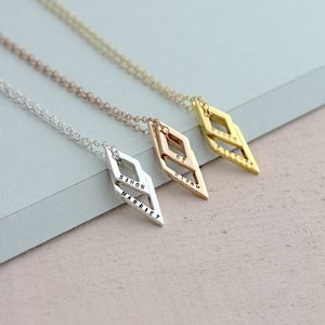 Personalised Names Geometric Necklace - rose gold jewellery