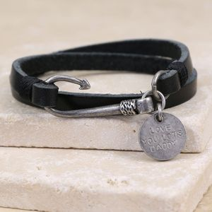 Personalised Men's Fish Hook Leather Wrap Bracelet - bracelets