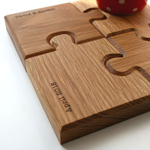 Personalised Chunky Jigsaw Coasters And Trivet - dining room