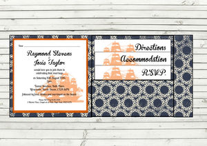 Nautical Pocket Fold Wedding Invitation - wedding stationery