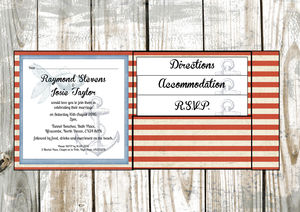 Nautical Stripe Pocket Fold Wedding Invitation - wedding stationery