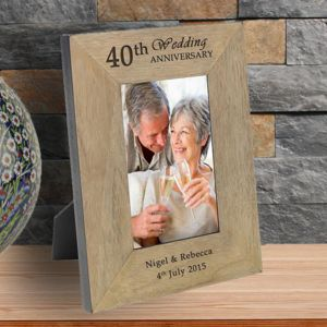 40th Ruby Wedding Anniversary Personalised Frame - picture frames