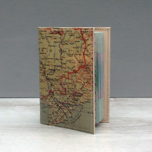 Leather Passport Case With Personalised Map