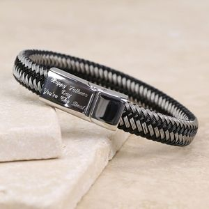 Men's Wide Wire Bracelet Engraved With Your Handwriting