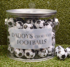 Personalised Bucket Of Chocolate Footballs - chocolates & confectionery