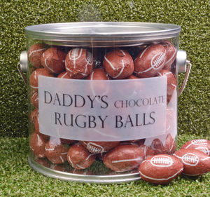 Personalised Bucket Of Chocolate Rugby Balls - personalised