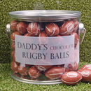Personalised Bucket Of Chocolate Rugby Balls