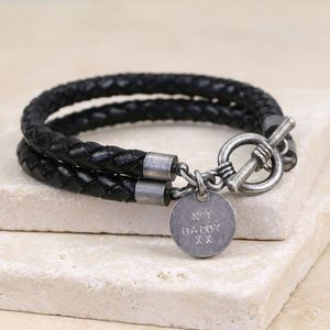 Men's Personalised Braided Leather Wrap Effect Bracelet - bracelets