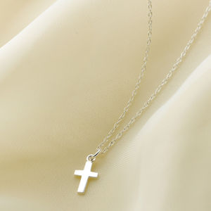 Sterling Silver Plain Cross Necklace - wedding jewellery