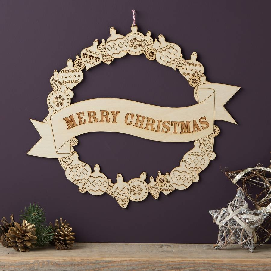 Merry Christmas Wooden Wreath By Owl Amp Otter