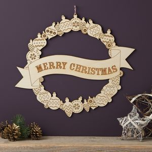 Merry Christmas Wooden Wreath - view all decorations