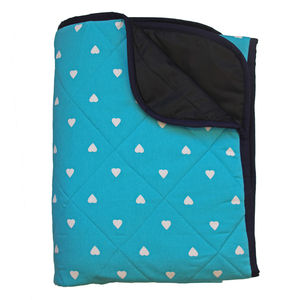 Padded Aqua Picnic Blanket With White Hearts