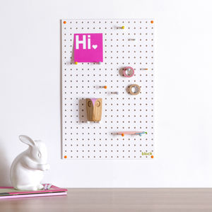 White Pegboard With Wooden Pegs, Medium - storage & organisers