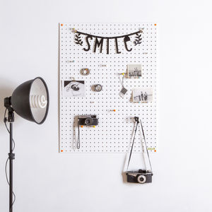 White Pegboard With Wooden Pegs, Large - kitchen accessories