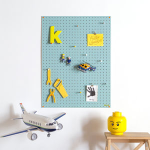 Blue Pegboard With Wooden Pegs, Large