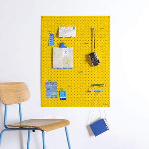 Yellow Pegboard With Wooden Pegs, Large - noticeboards