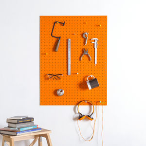 Orange Pegboard With Wooden Pegs, Large