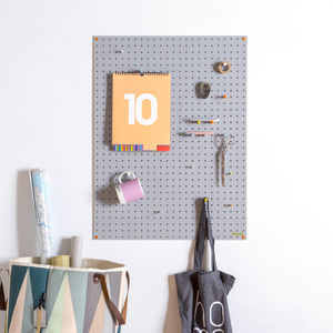 Grey Pegboard With Wooden Pegs, Large
