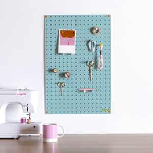 Blue Pegboard With Wooden Pegs, Medium