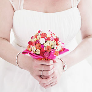 Summer Brights Button Bouquet - summer weddings