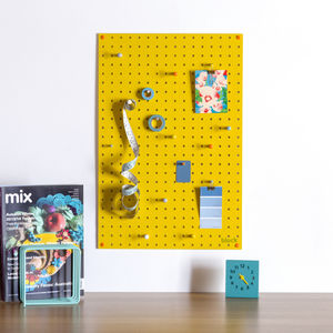 Yellow Pegboard With Wooden Pegs, Medium - noticeboards