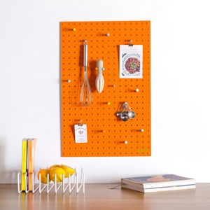 Orange Pegboard With Wooden Pegs, Medium - noticeboards