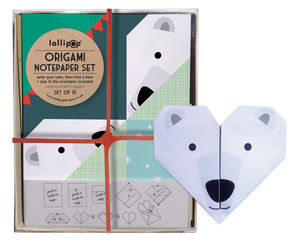 Origami Notepaper Set : Polar Bear - notelets